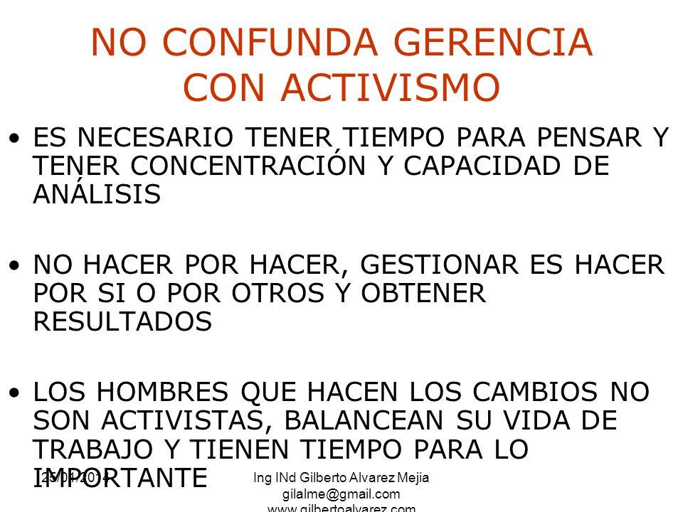 25/01/2014Ing INd Gilberto Alvarez Mejia gilalme@gmail.com www.gilbertoalvarez.com NO CONFUNDA GERENCIA CON ACTIVISMO ES NECESARIO TENER TIEMPO PARA P