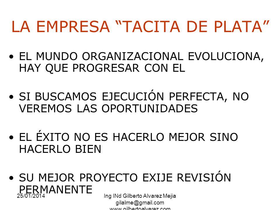 25/01/2014Ing INd Gilberto Alvarez Mejia gilalme@gmail.com www.gilbertoalvarez.com LA EMPRESA TACITA DE PLATA EL MUNDO ORGANIZACIONAL EVOLUCIONA, HAY