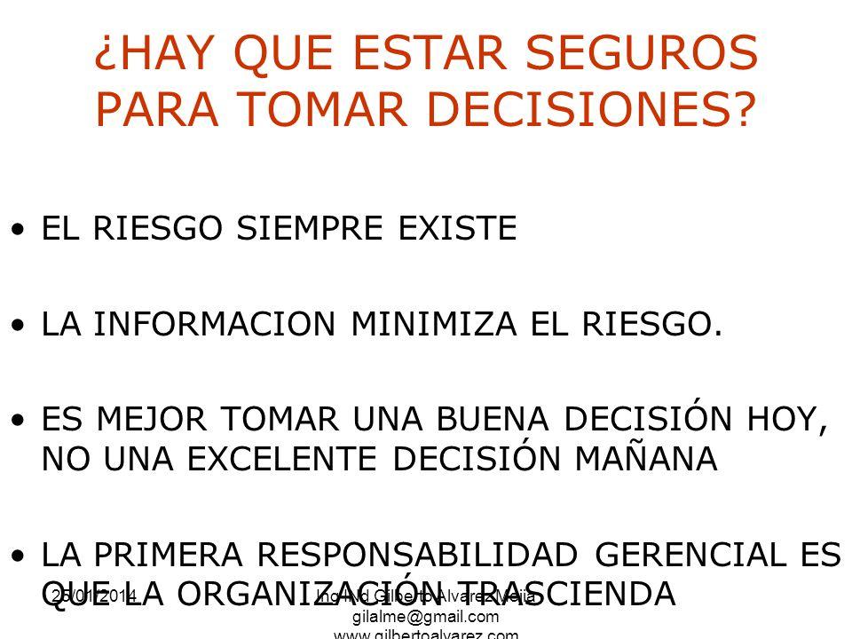 25/01/2014Ing INd Gilberto Alvarez Mejia gilalme@gmail.com www.gilbertoalvarez.com ¿HAY QUE ESTAR SEGUROS PARA TOMAR DECISIONES? EL RIESGO SIEMPRE EXI