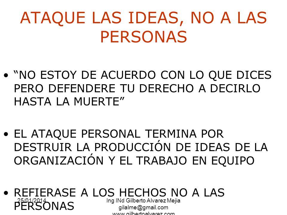 25/01/2014Ing INd Gilberto Alvarez Mejia gilalme@gmail.com www.gilbertoalvarez.com ATAQUE LAS IDEAS, NO A LAS PERSONAS NO ESTOY DE ACUERDO CON LO QUE