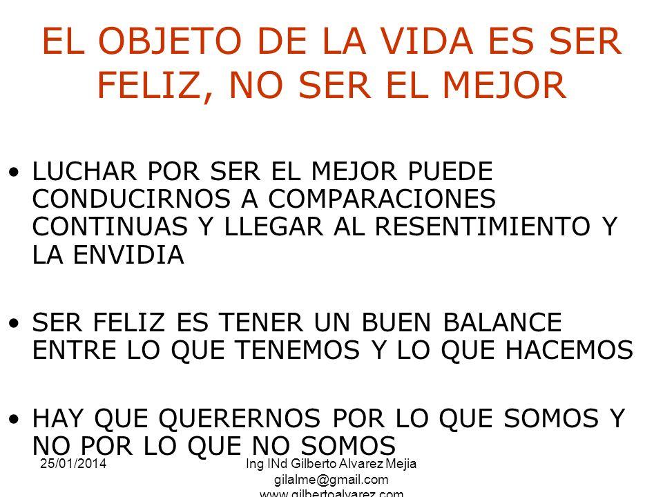 25/01/2014Ing INd Gilberto Alvarez Mejia gilalme@gmail.com www.gilbertoalvarez.com EL OBJETO DE LA VIDA ES SER FELIZ, NO SER EL MEJOR LUCHAR POR SER E