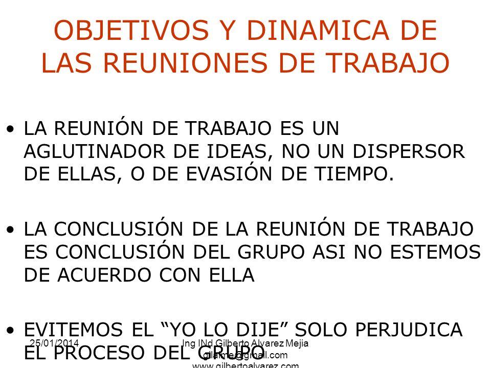 25/01/2014Ing INd Gilberto Alvarez Mejia gilalme@gmail.com www.gilbertoalvarez.com OBJETIVOS Y DINAMICA DE LAS REUNIONES DE TRABAJO LA REUNIÓN DE TRAB