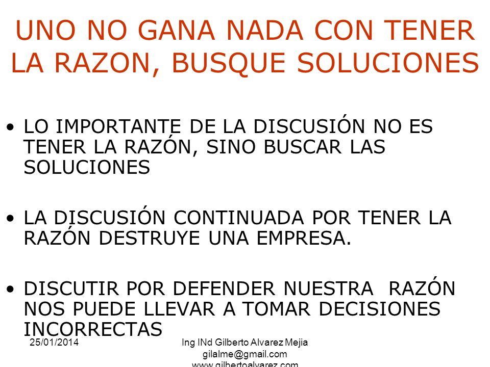25/01/2014Ing INd Gilberto Alvarez Mejia gilalme@gmail.com www.gilbertoalvarez.com UNO NO GANA NADA CON TENER LA RAZON, BUSQUE SOLUCIONES LO IMPORTANT