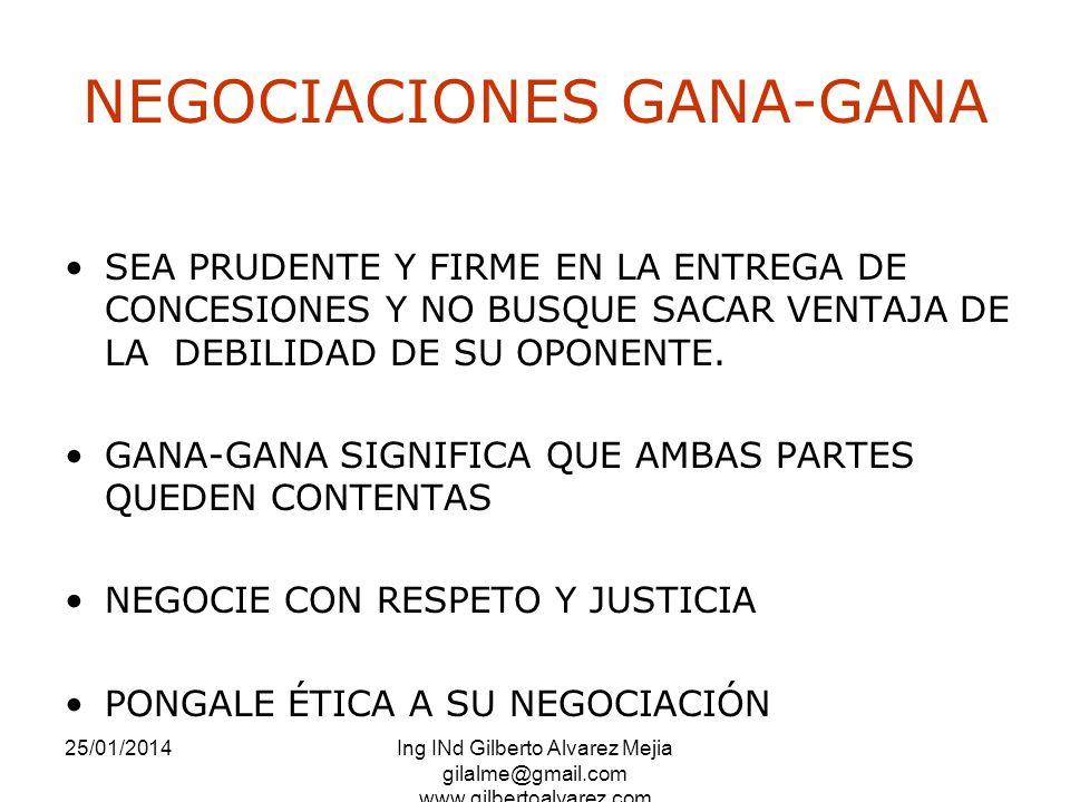25/01/2014Ing INd Gilberto Alvarez Mejia gilalme@gmail.com www.gilbertoalvarez.com NEGOCIACIONES GANA-GANA SEA PRUDENTE Y FIRME EN LA ENTREGA DE CONCE