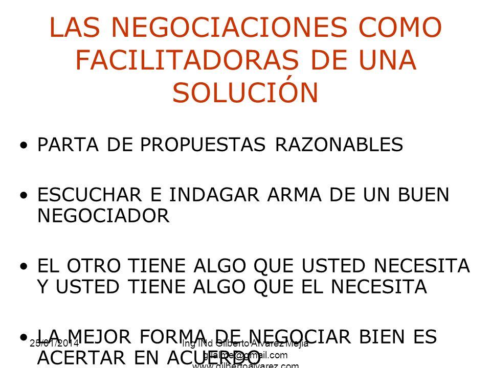 25/01/2014Ing INd Gilberto Alvarez Mejia gilalme@gmail.com www.gilbertoalvarez.com LAS NEGOCIACIONES COMO FACILITADORAS DE UNA SOLUCIÓN PARTA DE PROPU