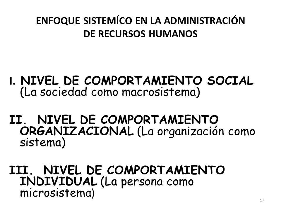 17 I. NIVEL DE COMPORTAMIENTO SOCIAL (La sociedad como macrosistema) II. NIVEL DE COMPORTAMIENTO ORGANIZACIONAL (La organización como sistema) III. NI