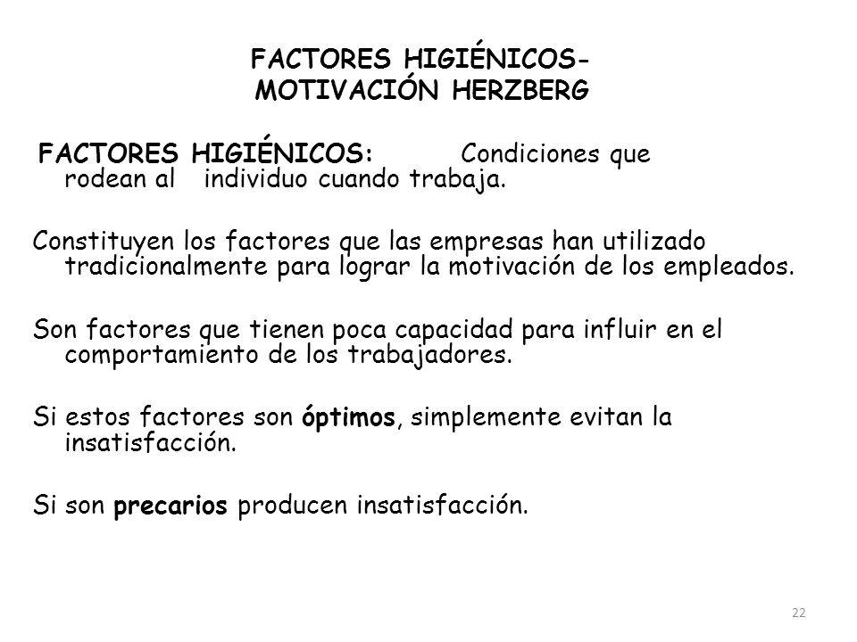22 FACTORES HIGIÉNICOS- MOTIVACIÓN HERZBERG FACTORES HIGIÉNICOS:Condiciones que rodean al individuo cuando trabaja. Constituyen los factores que las e