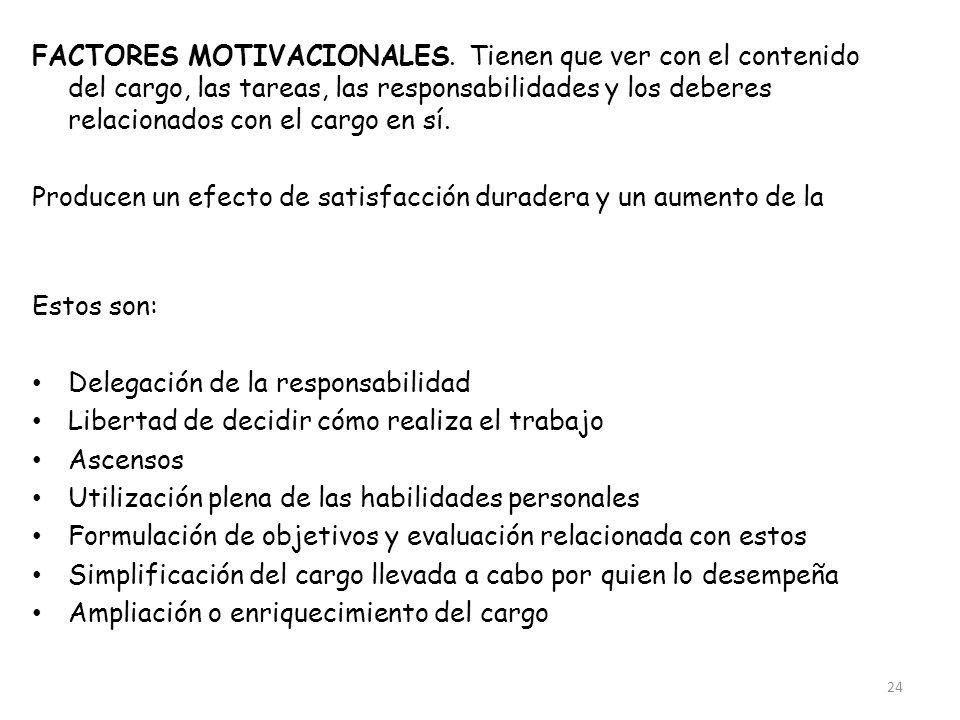 24 FACTORES MOTIVACIONALES. Tienen que ver con el contenido del cargo, las tareas, las responsabilidades y los deberes relacionados con el cargo en sí