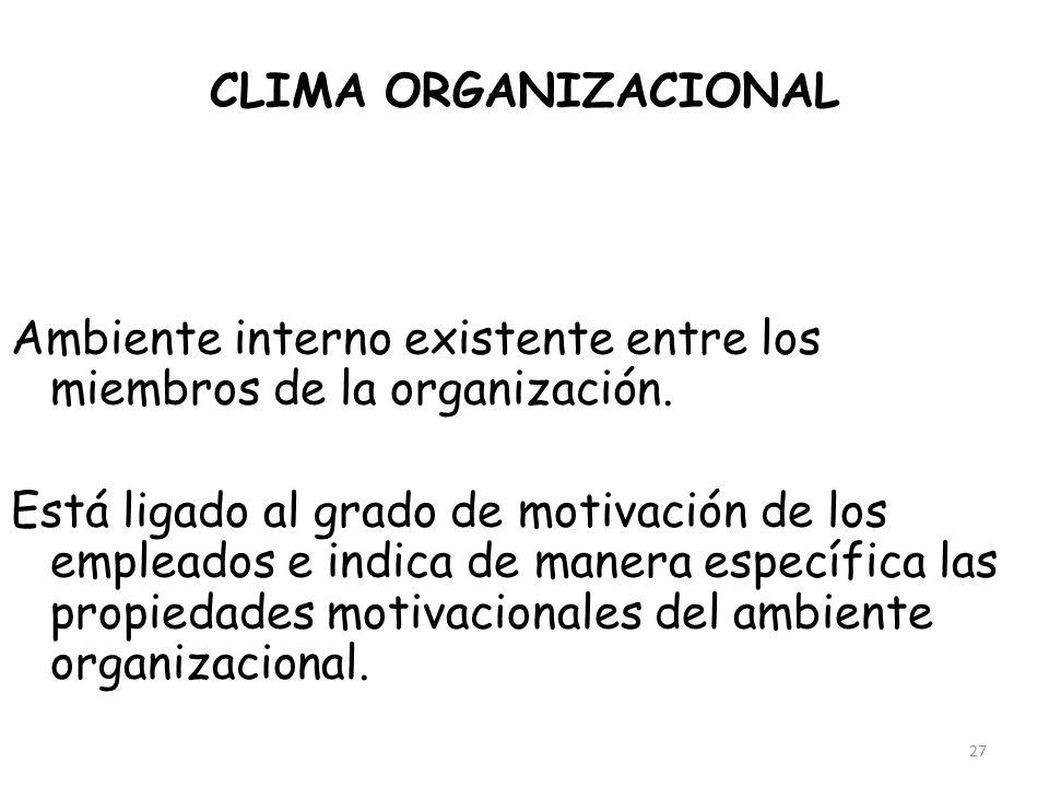 27 CLIMA ORGANIZACIONAL Ambiente interno existente entre los miembros de la organización. Está ligado al grado de motivación de los empleados e indica
