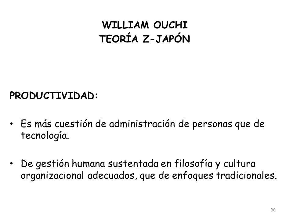 36 WILLIAM OUCHI TEORÍA Z-JAPÓN FACTOR:Cultura PRODUCTIVIDAD: Es más cuestión de administración de personas que de tecnología. De gestión humana suste