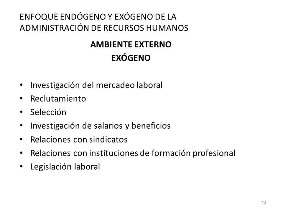 43 AMBIENTE EXTERNO EXÓGENO Investigación del mercadeo laboral Reclutamiento Selección Investigación de salarios y beneficios Relaciones con sindicato