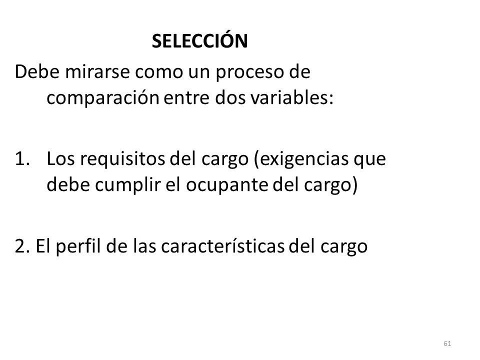 61 SELECCIÓN Debe mirarse como un proceso de comparación entre dos variables: 1.Los requisitos del cargo (exigencias que debe cumplir el ocupante del