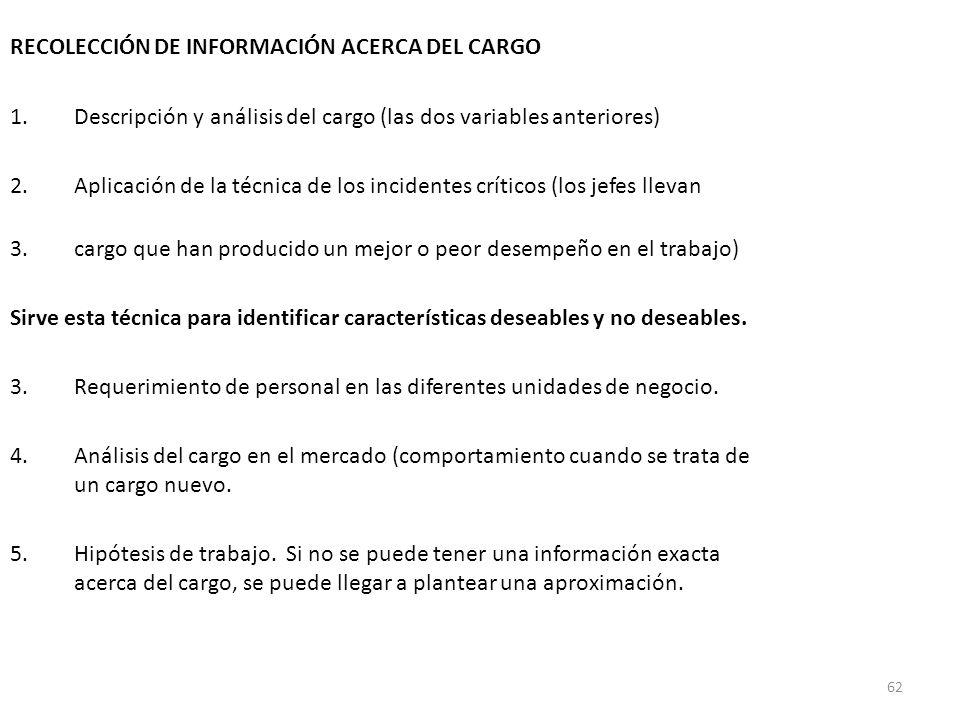 62 RECOLECCIÓN DE INFORMACIÓN ACERCA DEL CARGO 1.Descripción y análisis del cargo (las dos variables anteriores) 2.Aplicación de la técnica de los inc