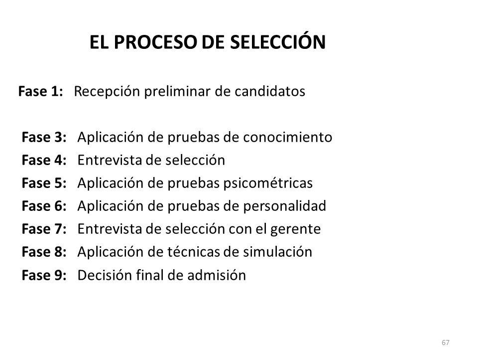 67 EL PROCESO DE SELECCIÓN Fase 1: Recepción preliminar de candidatos Fase 2: Entrevista de clasificación Fase 3: Aplicación de pruebas de conocimient