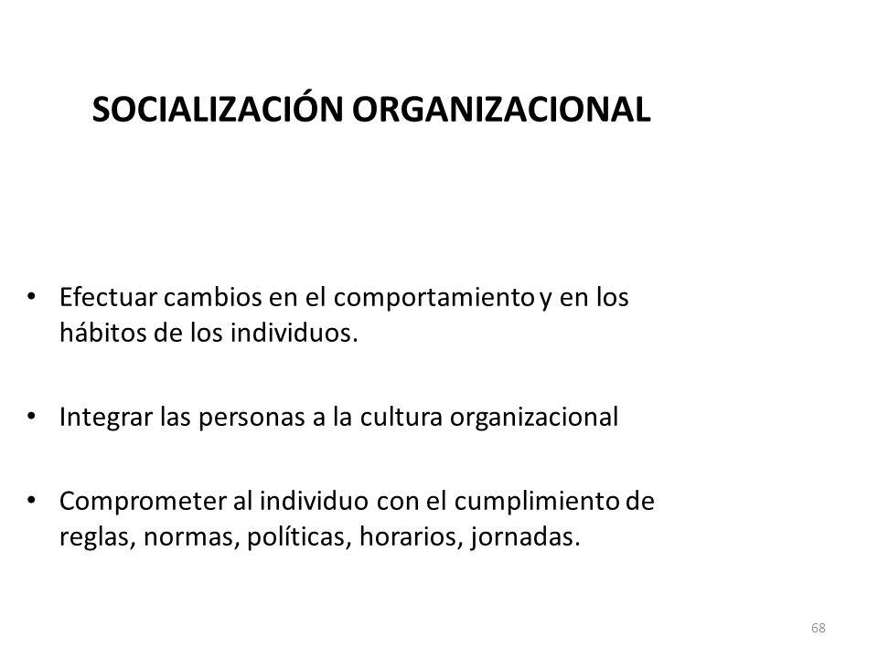 68 SOCIALIZACIÓN ORGANIZACIONAL Integrar las personas a su contexto laboral Efectuar cambios en el comportamiento y en los hábitos de los individuos.