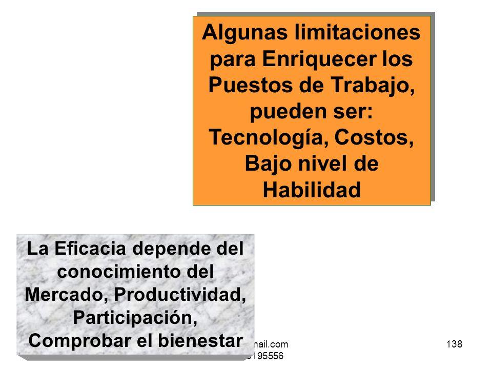 25/01/2014gilalme@gmail.com - cel 3006195556 137 Para Estimular el Enriquecimiento del Puesto de Trabajo, se necesita: Retos, Satisfacciones por Recon