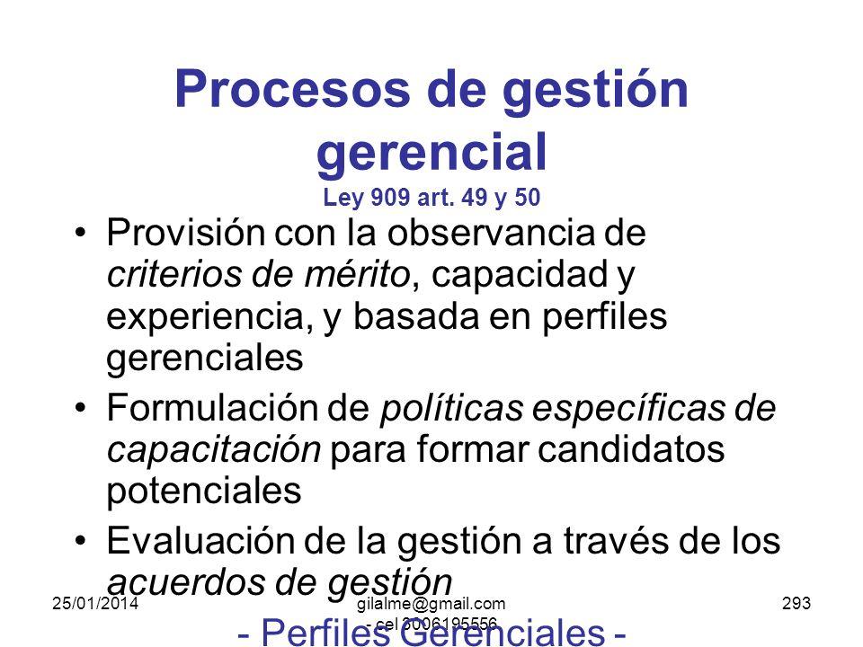 25/01/2014gilalme@gmail.com - cel 3006195556 292 Empleos de gerencia pública EXCEPCIONES - Ley 909 art. 47 NO son empleos de gerencia pública: En el o