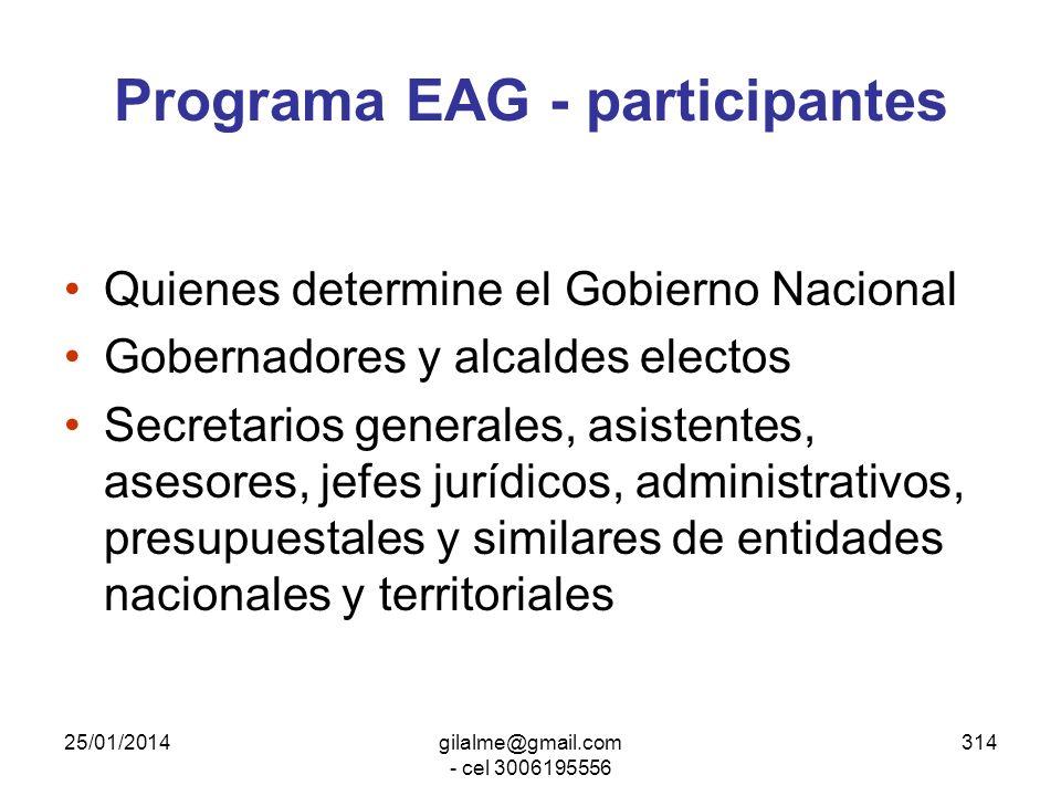 25/01/2014gilalme@gmail.com - cel 3006195556 313 Programa Escuela de Alto Gobierno Ley 489 de 1998, art. 30 y 31 Desarrollado por ESAP en coordinación