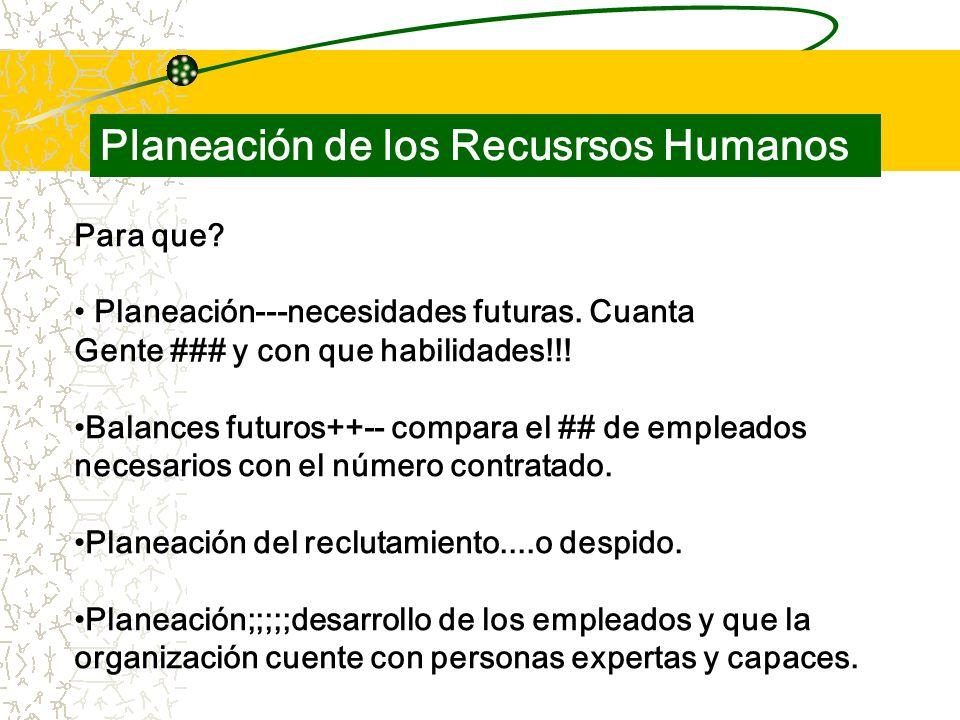 Para que. Planeación---necesidades futuras. Cuanta Gente ### y con que habilidades!!.