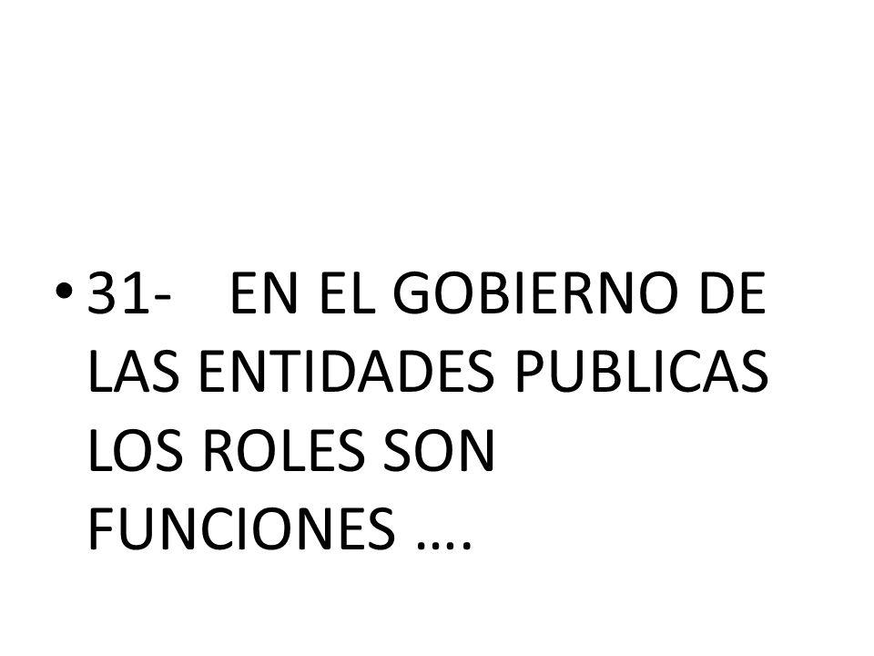 31-EN EL GOBIERNO DE LAS ENTIDADES PUBLICAS LOS ROLES SON FUNCIONES ….
