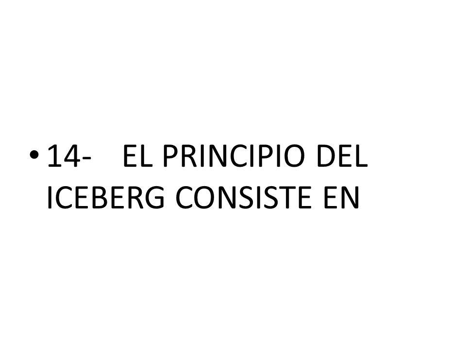 14-EL PRINCIPIO DEL ICEBERG CONSISTE EN