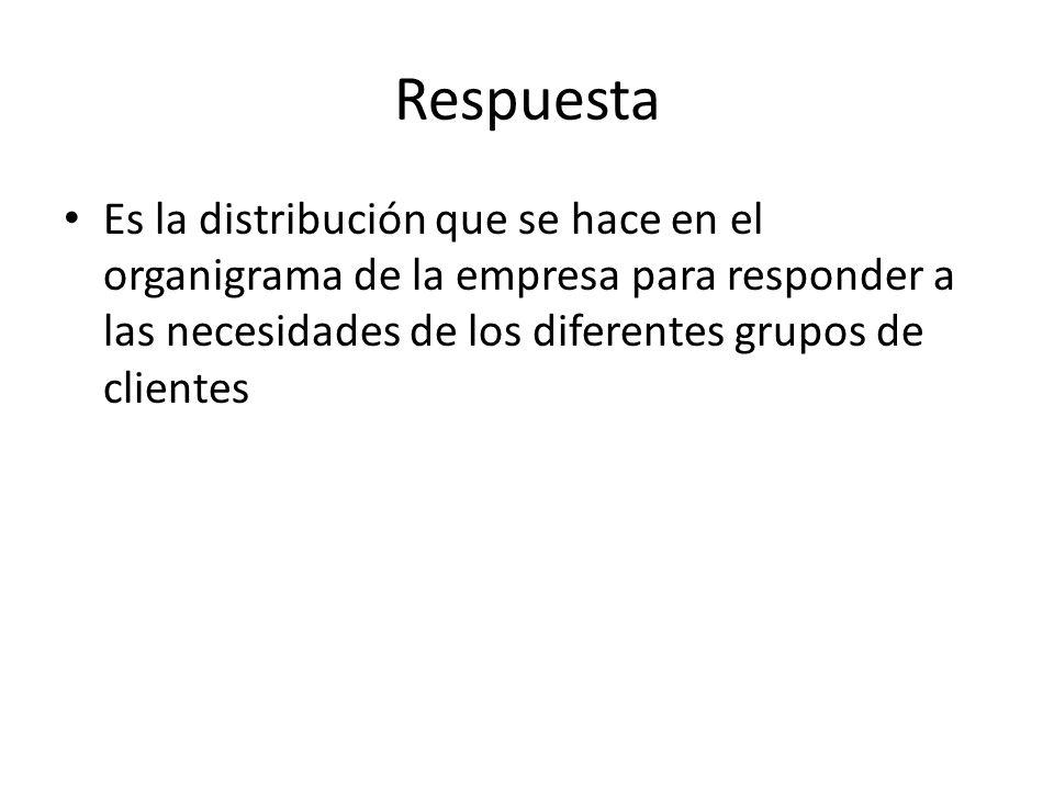 Respuesta Es la distribución que se hace en el organigrama de la empresa para responder a las necesidades de los diferentes grupos de clientes