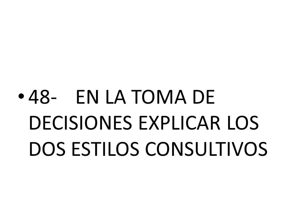 48-EN LA TOMA DE DECISIONES EXPLICAR LOS DOS ESTILOS CONSULTIVOS