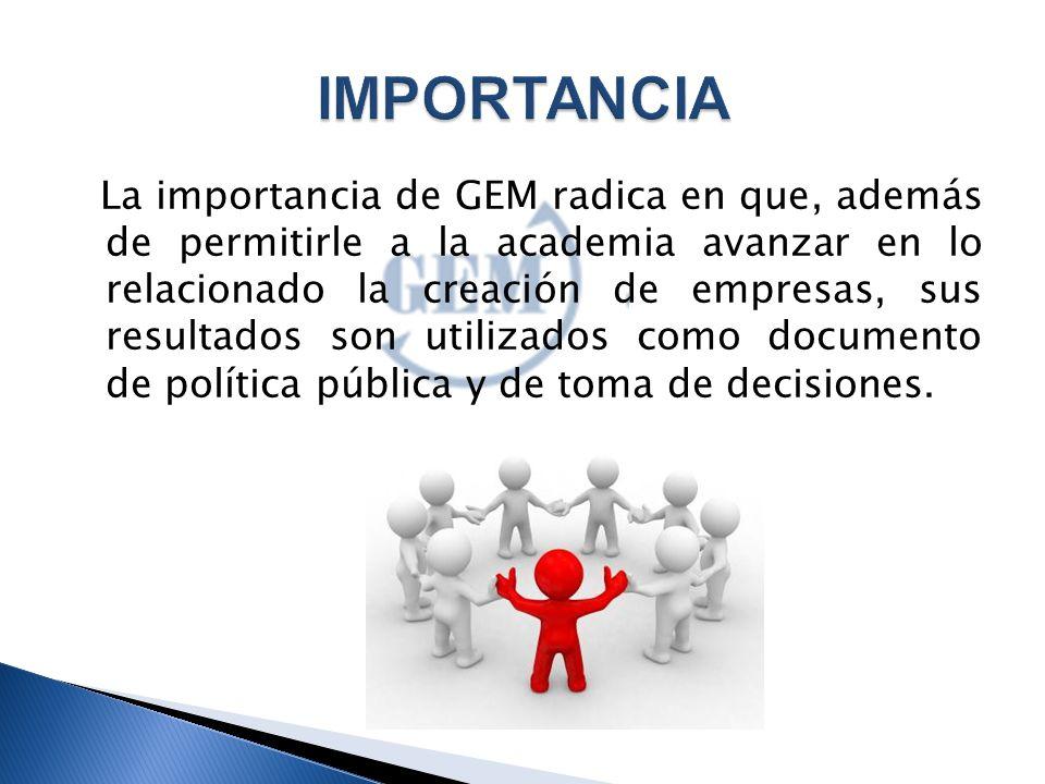 La importancia de GEM radica en que, además de permitirle a la academia avanzar en lo relacionado la creación de empresas, sus resultados son utilizados como documento de política pública y de toma de decisiones.