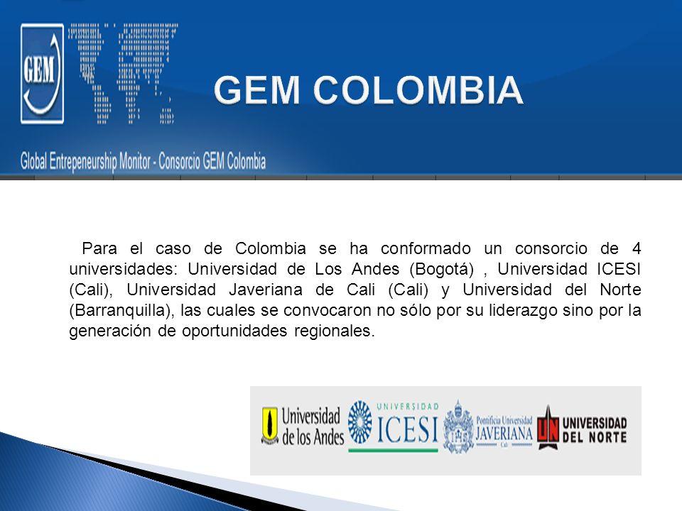 Para el caso de Colombia se ha conformado un consorcio de 4 universidades: Universidad de Los Andes (Bogotá), Universidad ICESI (Cali), Universidad Javeriana de Cali (Cali) y Universidad del Norte (Barranquilla), las cuales se convocaron no sólo por su liderazgo sino por la generación de oportunidades regionales.