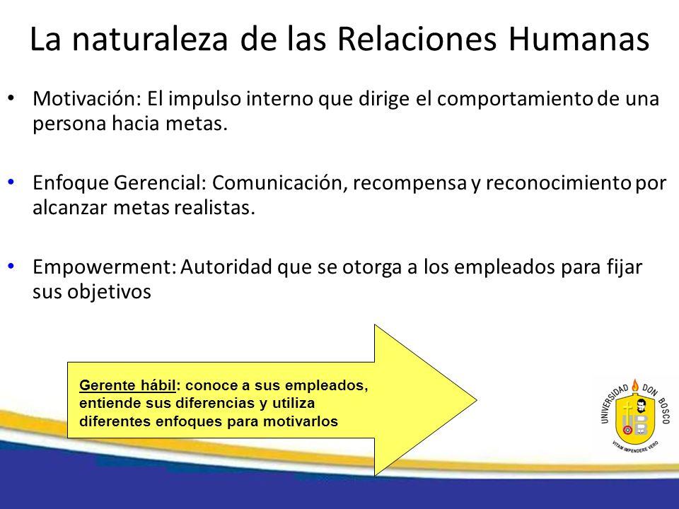 La naturaleza de las Relaciones Humanas Motivación: El impulso interno que dirige el comportamiento de una persona hacia metas. Enfoque Gerencial: Com