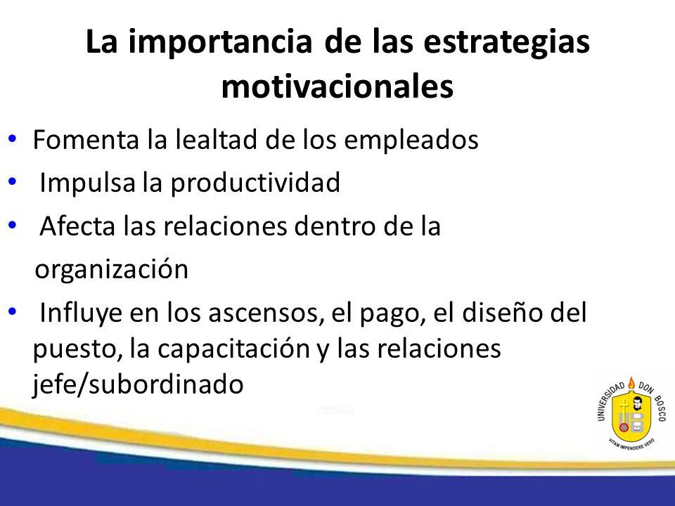 La importancia de las estrategias motivacionales Fomenta la lealtad de los empleados Impulsa la productividad Afecta las relaciones dentro de la organ
