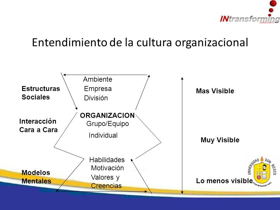 Entendimiento de la cultura organizacional Ambiente Empresa División ORGANIZACION Grupo/Equipo Individual Habilidades Motivación Valores y Creencias E