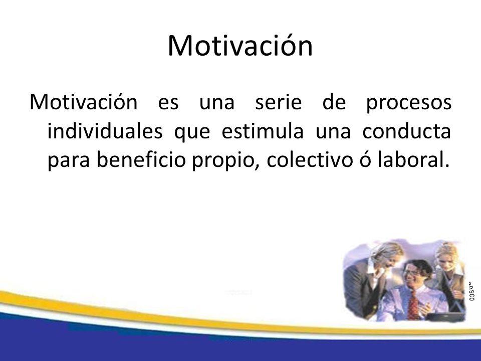 Motivación Motivación es una serie de procesos individuales que estimula una conducta para beneficio propio, colectivo ó laboral.