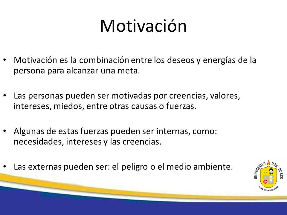 Motivación Motivación es la combinación entre los deseos y energías de la persona para alcanzar una meta. Las personas pueden ser motivadas por creenc