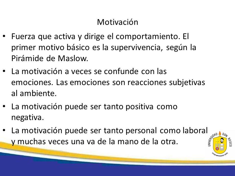 Motivación Fuerza que activa y dirige el comportamiento. El primer motivo básico es la supervivencia, según la Pirámide de Maslow. La motivación a vec