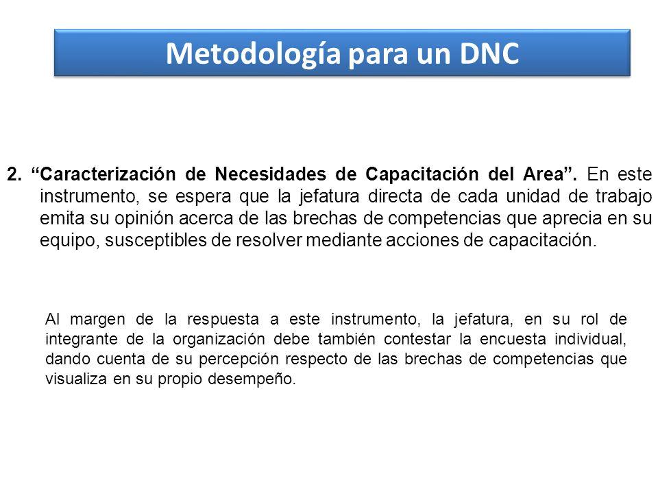 Metodología para un DNC 2. Caracterización de Necesidades de Capacitación del Area. En este instrumento, se espera que la jefatura directa de cada uni