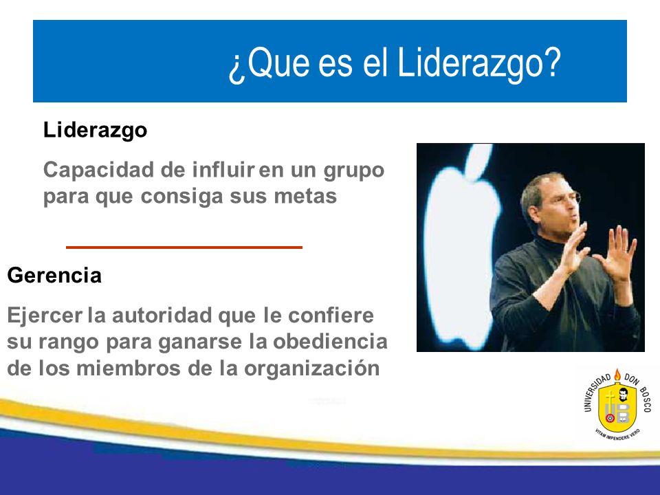 ¿Que es el Liderazgo? Liderazgo Capacidad de influir en un grupo para que consiga sus metas Gerencia Ejercer la autoridad que le confiere su rango par