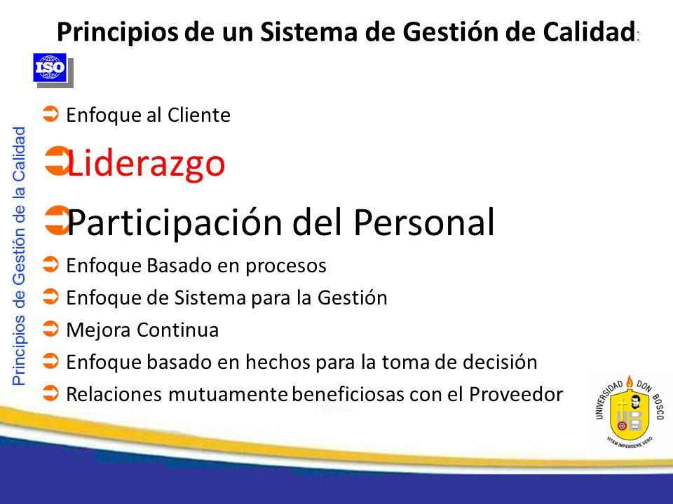 Principios de Gestión de la Calidad Enfoque al Cliente Liderazgo Participación del Personal Enfoque Basado en procesos Enfoque de Sistema para la Gest