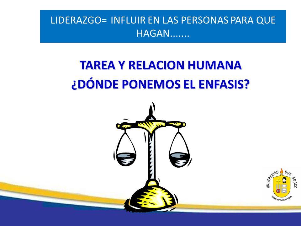 LIDERAZGO=INFLUIR EN LAS PERSONAS PARA QUE HAGAN....... TAREA Y RELACION HUMANA ¿DÓNDE PONEMOS EL ENFASIS?