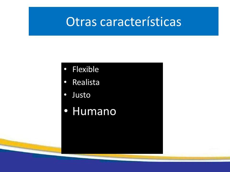 Otras características Flexible Realista Justo Humano