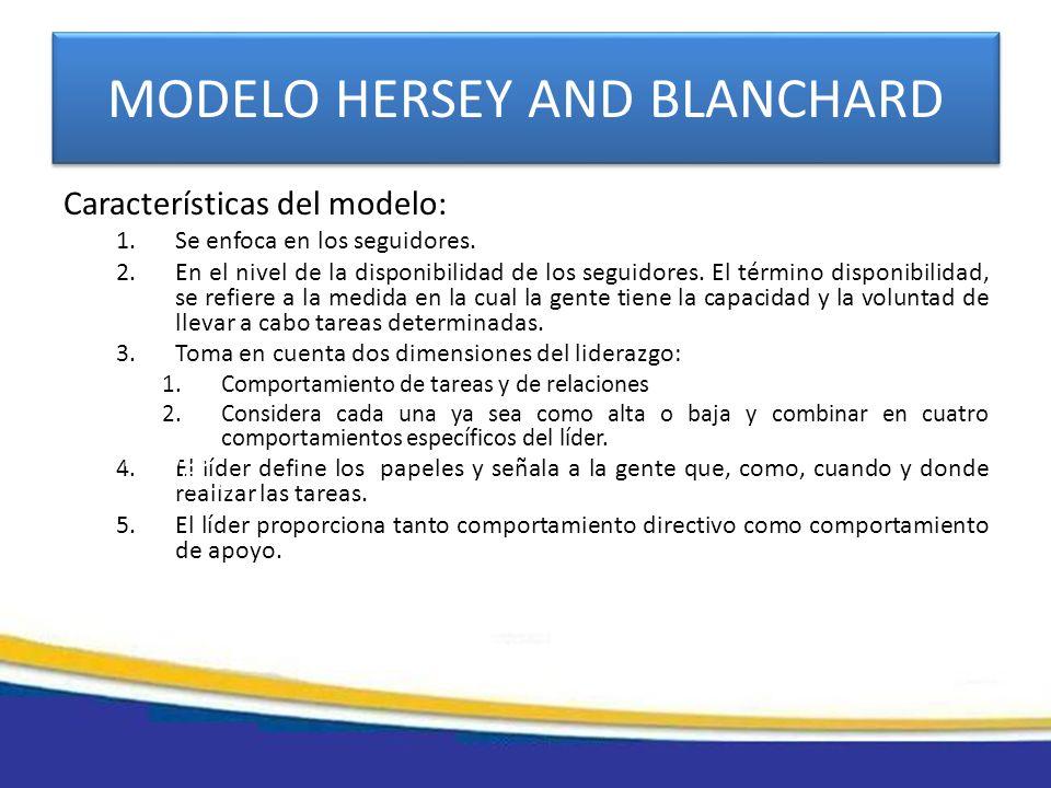 MODELO HERSEY AND BLANCHARD Características del modelo: 1.Se enfoca en los seguidores. 2.En el nivel de la disponibilidad de los seguidores. El términ