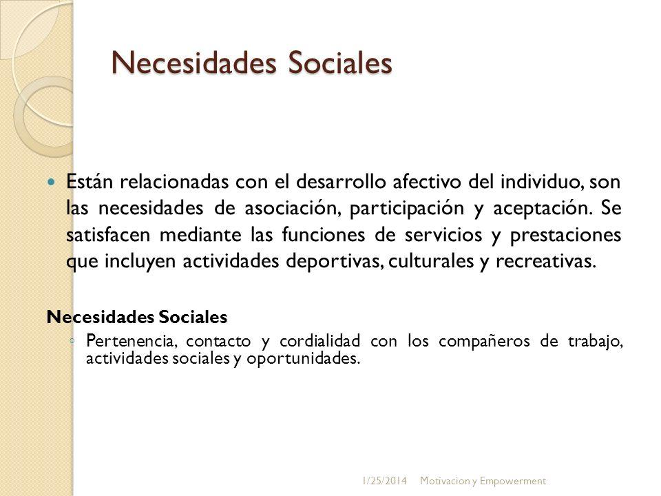 Necesidades Sociales Están relacionadas con el desarrollo afectivo del individuo, son las necesidades de asociación, participación y aceptación. Se sa