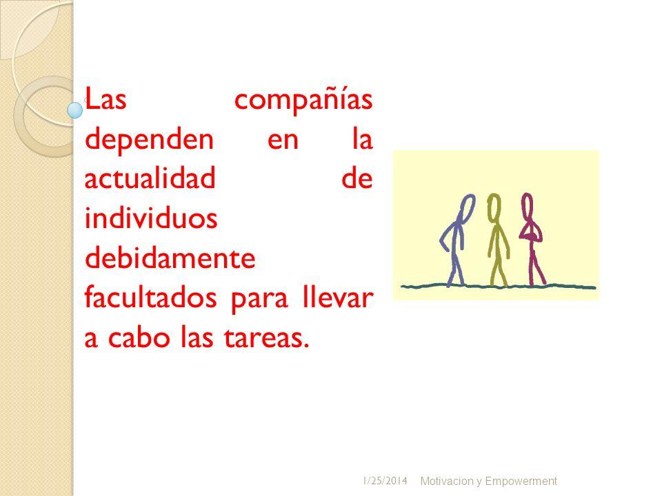 Las compañías dependen en la actualidad de individuos debidamente facultados para llevar a cabo las tareas. Motivacion y Empowerment 1/25/2014