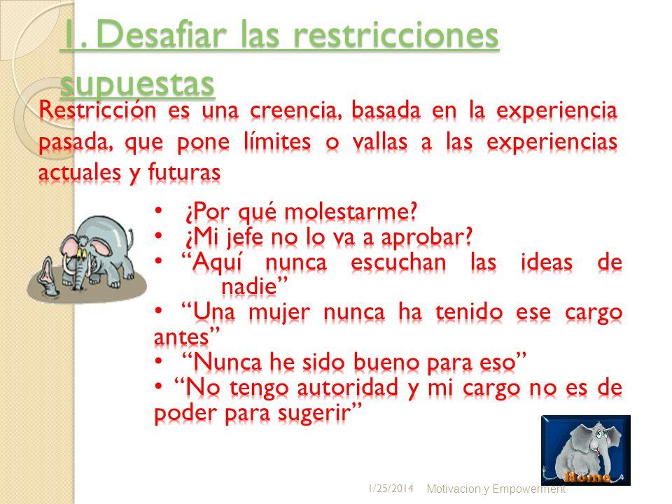 1. Desafiar las restricciones supuestas 1. Desafiar las restricciones supuestas Motivacion y Empowerment 1/25/2014