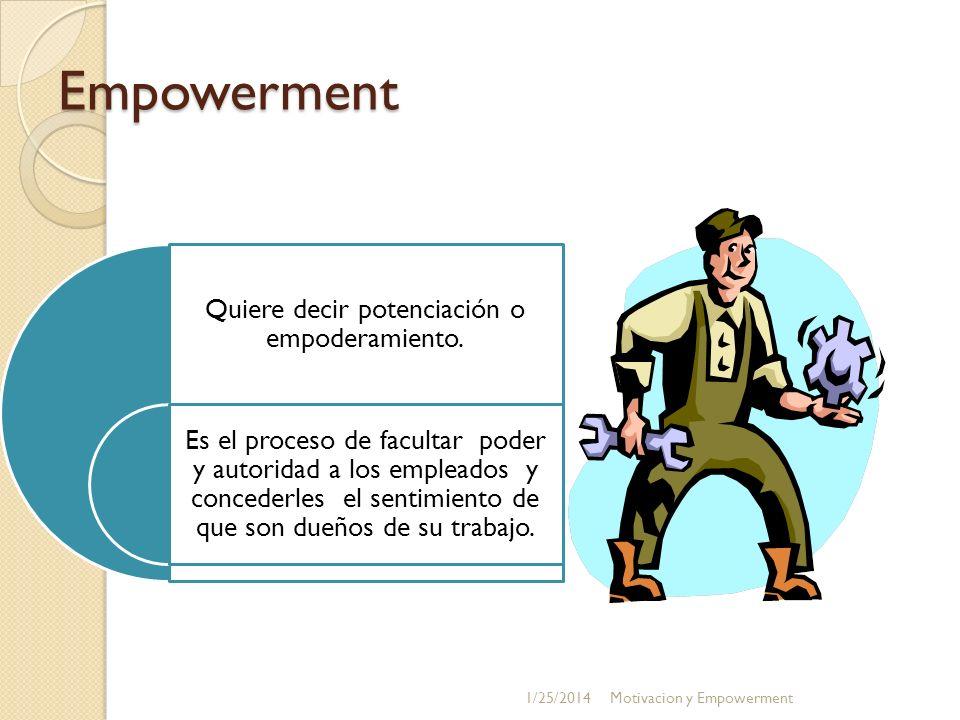 Empowerment Quiere decir potenciación o empoderamiento. Es el proceso de facultar poder y autoridad a los empleados y concederles el sentimiento de qu