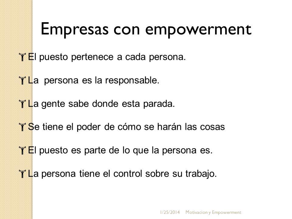 Empresas con empowerment El puesto pertenece a cada persona. La persona es la responsable. La gente sabe donde esta parada. Se tiene el poder de cómo