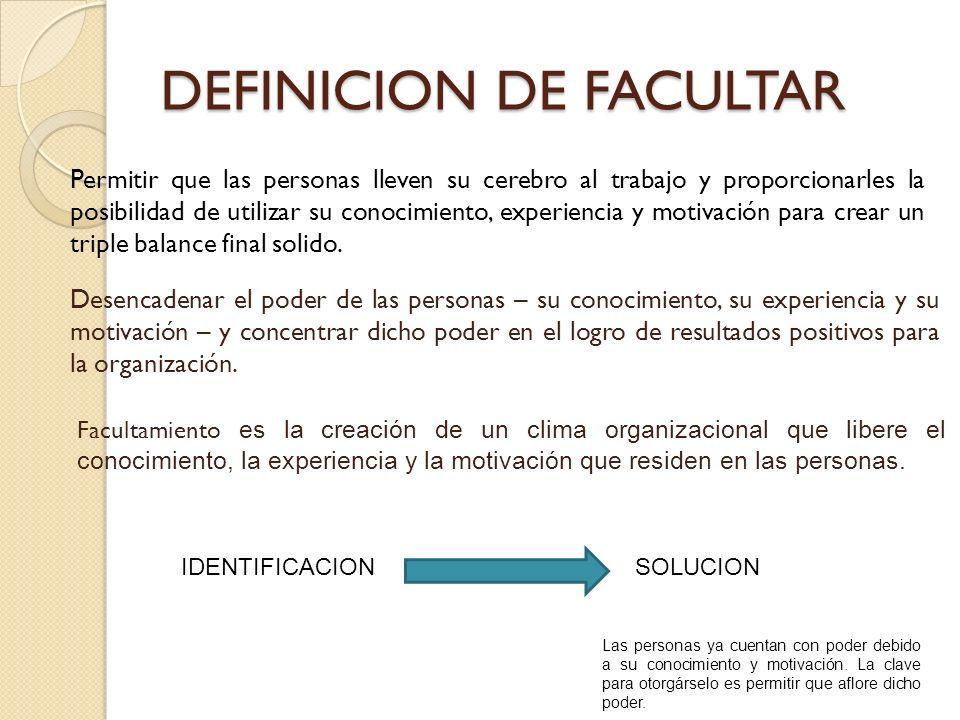DEFINICION DE FACULTAR Permitir que las personas lleven su cerebro al trabajo y proporcionarles la posibilidad de utilizar su conocimiento, experienci