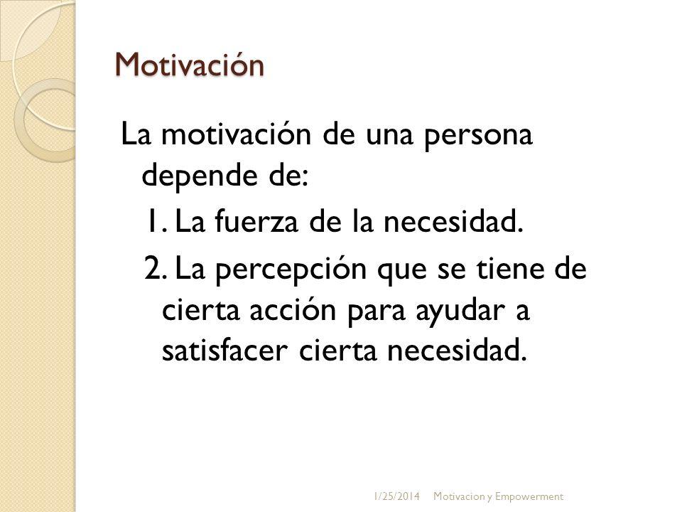 Motivación La motivación de una persona depende de: 1. La fuerza de la necesidad. 2. La percepción que se tiene de cierta acción para ayudar a satisfa