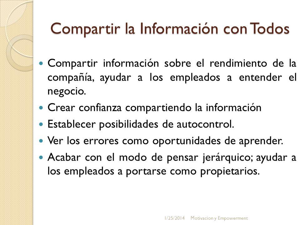 Compartir la Información con Todos Compartir información sobre el rendimiento de la compañía, ayudar a los empleados a entender el negocio. Crear conf