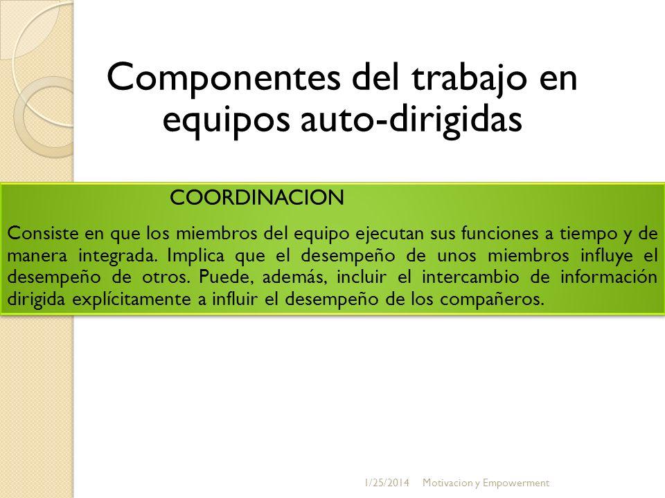 COORDINACION Consiste en que los miembros del equipo ejecutan sus funciones a tiempo y de manera integrada. Implica que el desempeño de unos miembros